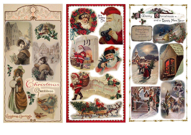 Decoupage Paper Pack (12 Sheets A4/8x11) Christmas Eve Santa Lady FLONZ Vintage Ephemera