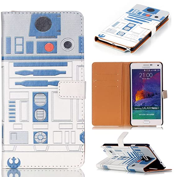 Galaxy Note 4 Case - R2D2 Robot Blue and White Pattern Slim Wallet Card  Flip Stand PU Leather Pouch Case Cover For Samsung Galaxy Note 4 - Cool as