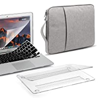 GMYLE 4 in 1 MacBook Air 13 Inch A1369/A1466 (2008-2017 Release) Bundle, Hard Glossy Case, Grey Protective Carrying Sleeve Bag with Handle, Black Keyboard Cover and Screen Protector - Clear Set