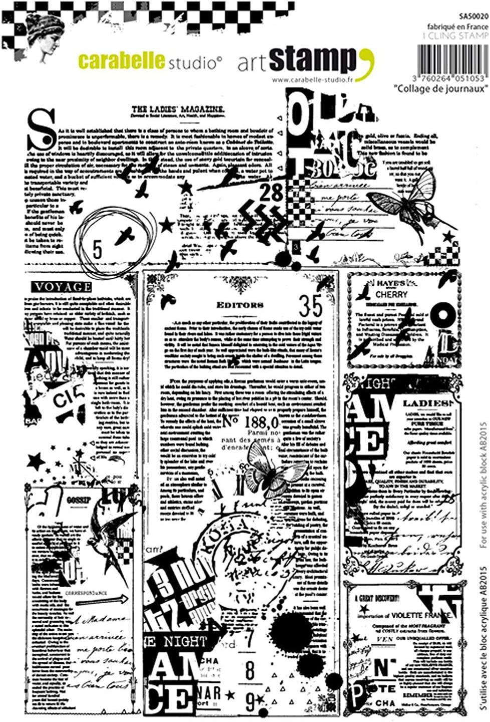 Carabelle Studio Cling Stamp A5-Collage Of Newspapers