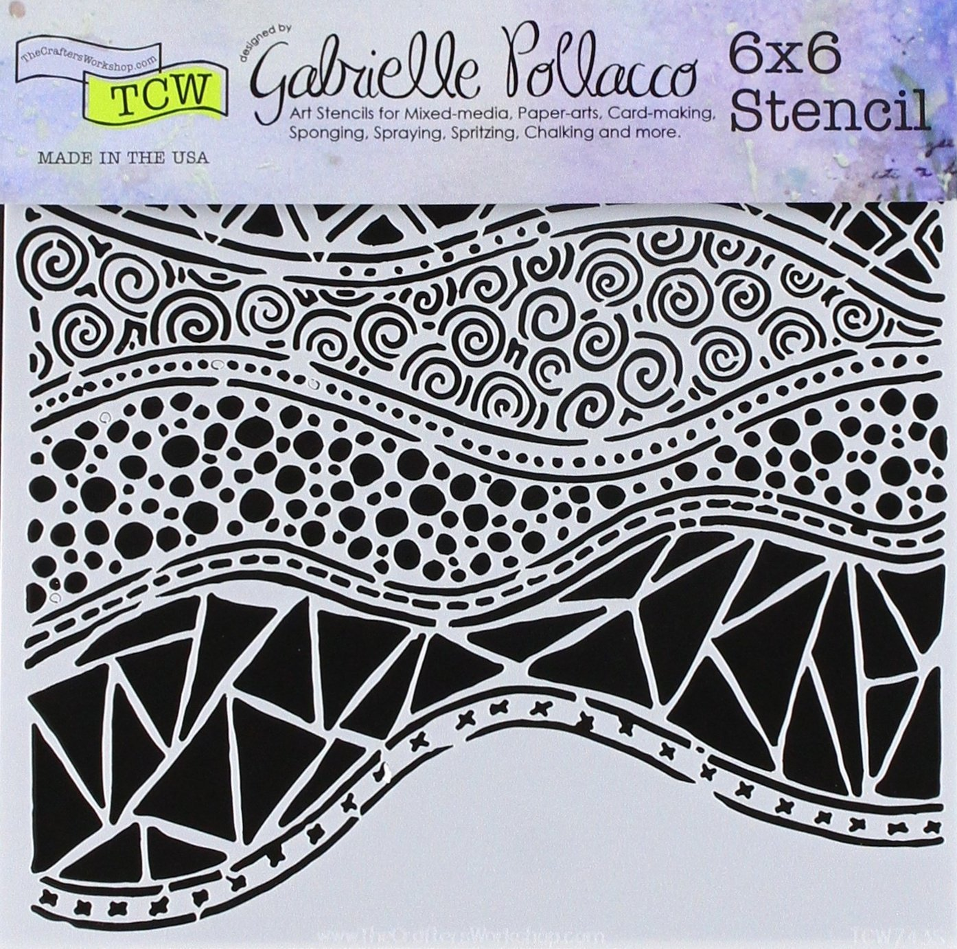 CRAFTERS WORKSHOP TCW743S Template 6X6-Crazy Waves