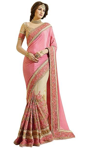 Sari diseñador Con partido de las mujeres de la blusa de Bollywood UNSTICHED boda Sari
