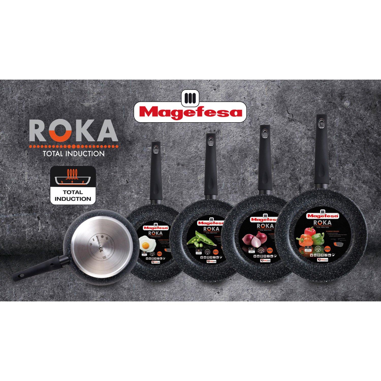Magefesa Roka - Set Juego 3 Sartenes 20-24-28 cm aluminio, inducción, antiadherente piedra libre de PFOA, limpieza lavavajillas apta para todas las ...