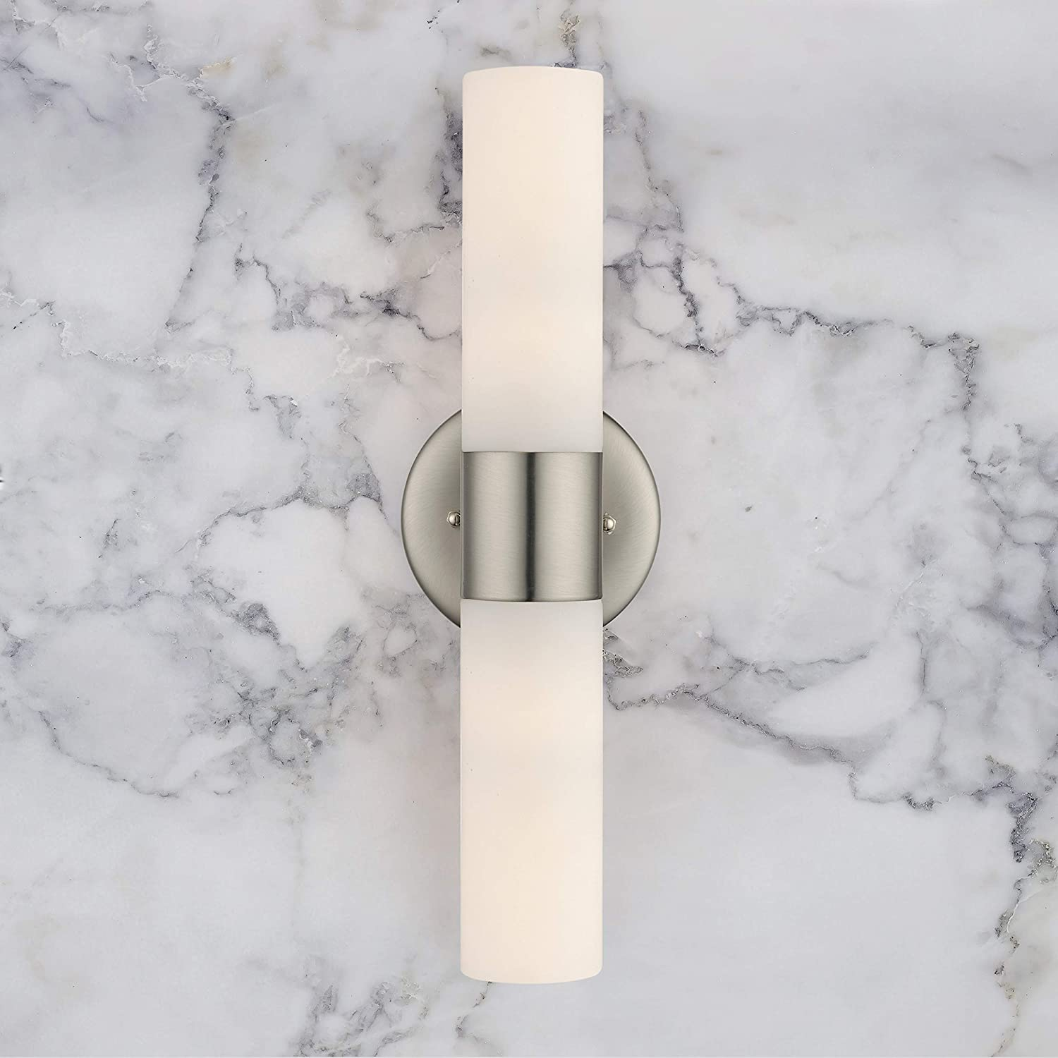 Satin Nickel Finish Bathroom Light Adjustable Vertical or Horizontal Wall Mounting