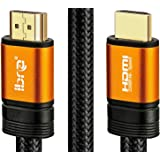 IBRA Orange HDMI Cable 3ft - UHD HDMI 2.0 (4K@60Hz) Ready -18Gbps-28AWG Braided Cord -Gold Plated Connectors -Ethernet,Audio Return-Video 4K 2160p,HD 1080p,3D -Xbox PlayStation PS3 PS4 PC Apple TV
