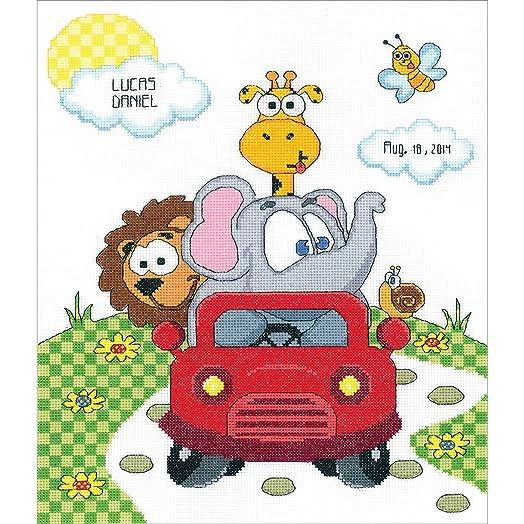 Janlynn Animal Fun Ride Birth Announcement CrossStitch Counted – Baby Announcement Cross Stitch