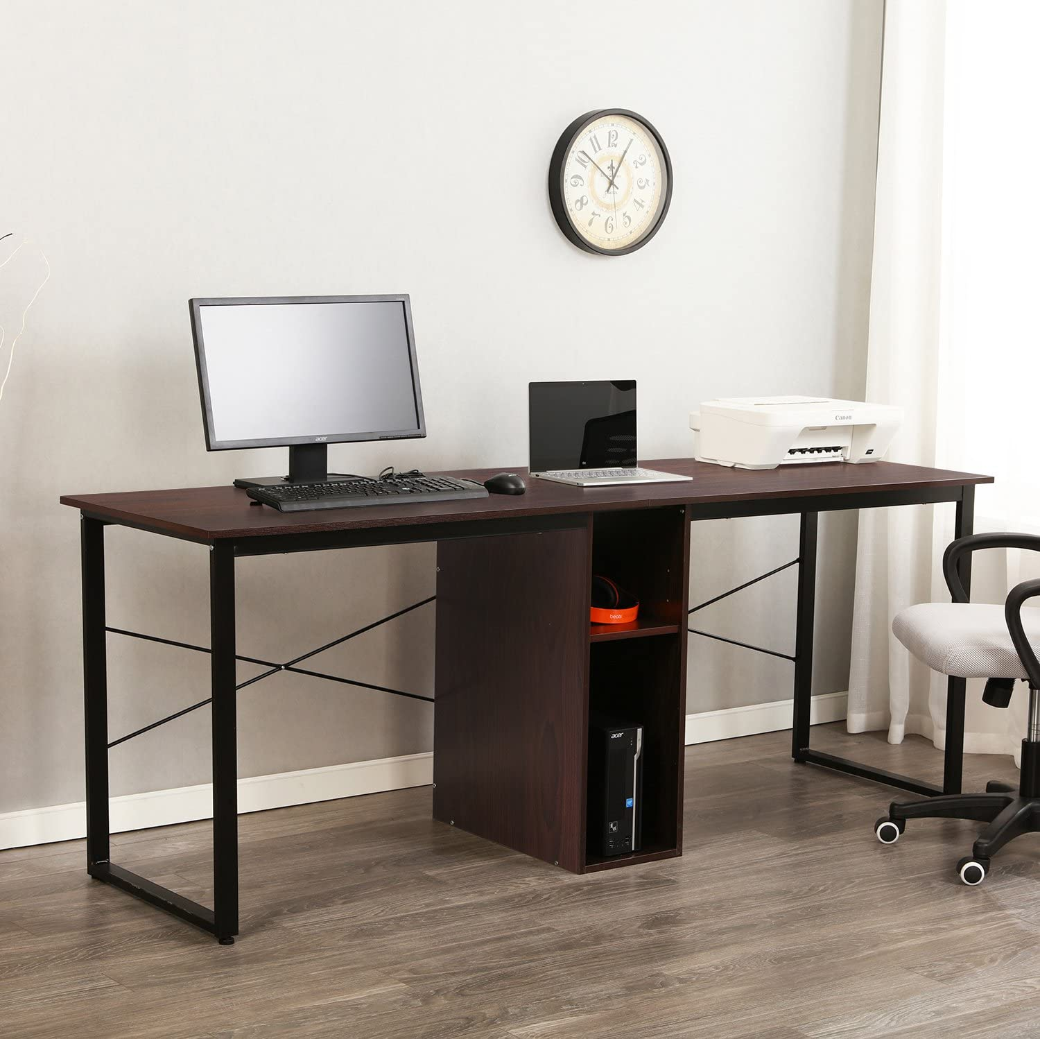 Amazon Com Sogesfurniture Large Double Workstation 78 Inches Computer Desk Dual Desk Home Office Desk 2 Person Computer Desk Computer Desks With Storage Walnut Bhus Hz Kitchen Dining