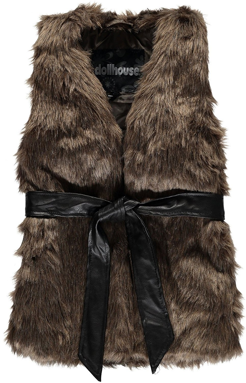 dollhouse Big Girls' Belted Faux Fur Vest