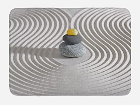 09c929e093b8 Ambesonne Spa Bath Mat, Three Hot Massage Stones in The Middle of The White  Sand