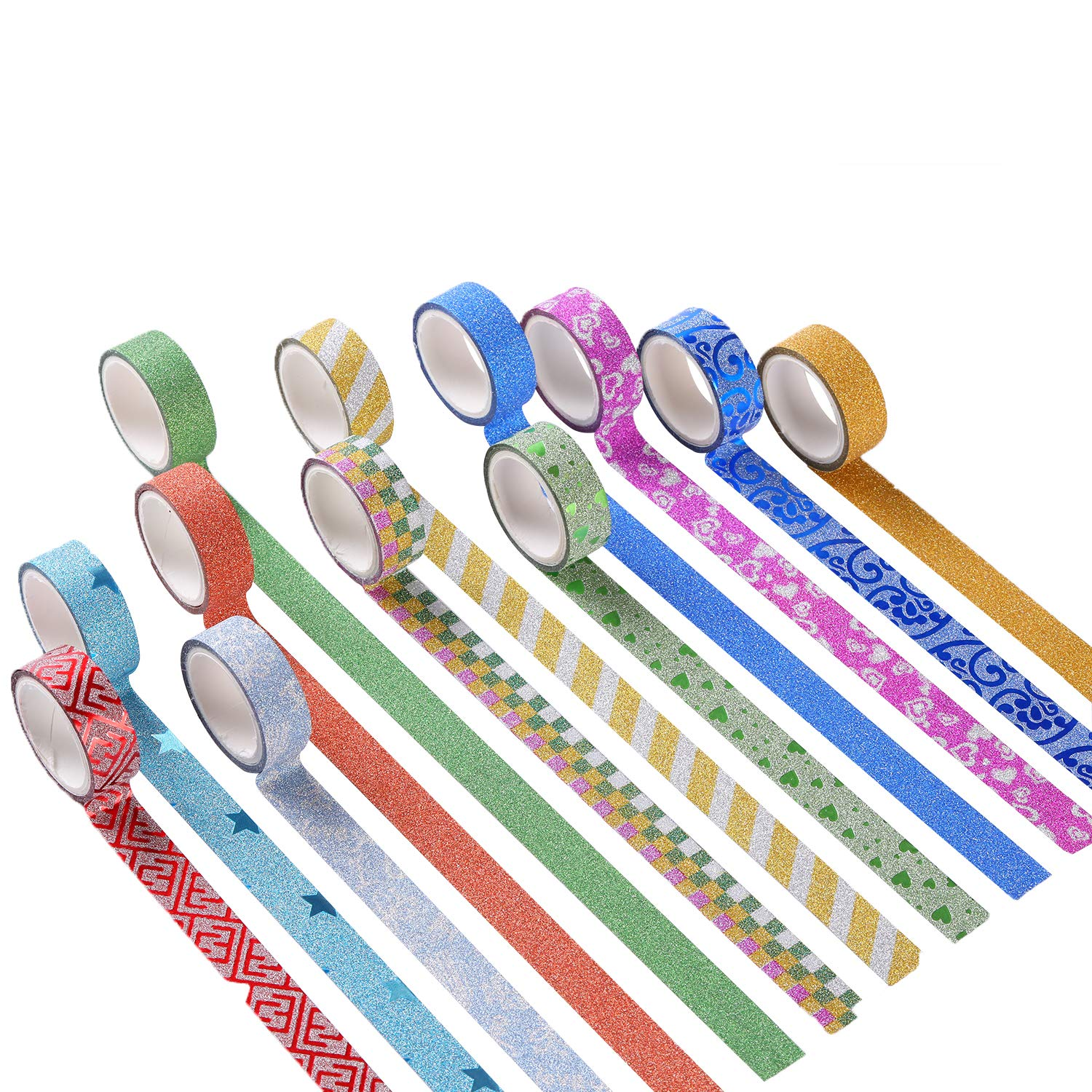 MONICO 39 Glitter Washi Tape Craft Decorative Tape Great for Bujo,Bullet Journal Accessories,Scrapbook Arts and Crafts Projects
