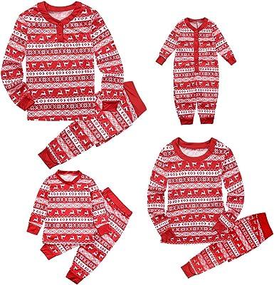 Familia Navidad a Juego Recién Nacido Bebé Niños Mamá Papá Pijamas de Manga Larga Ropa de Dormir roja Ropa de Conjuntos de Ropa de casa
