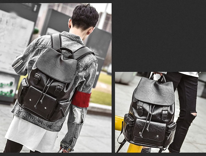 BAAFG Leather Backpack Rucksack Leisure Travel Bag Business Casual Backpack Travel Bagpack Backpack,Darkbrown-OneSize