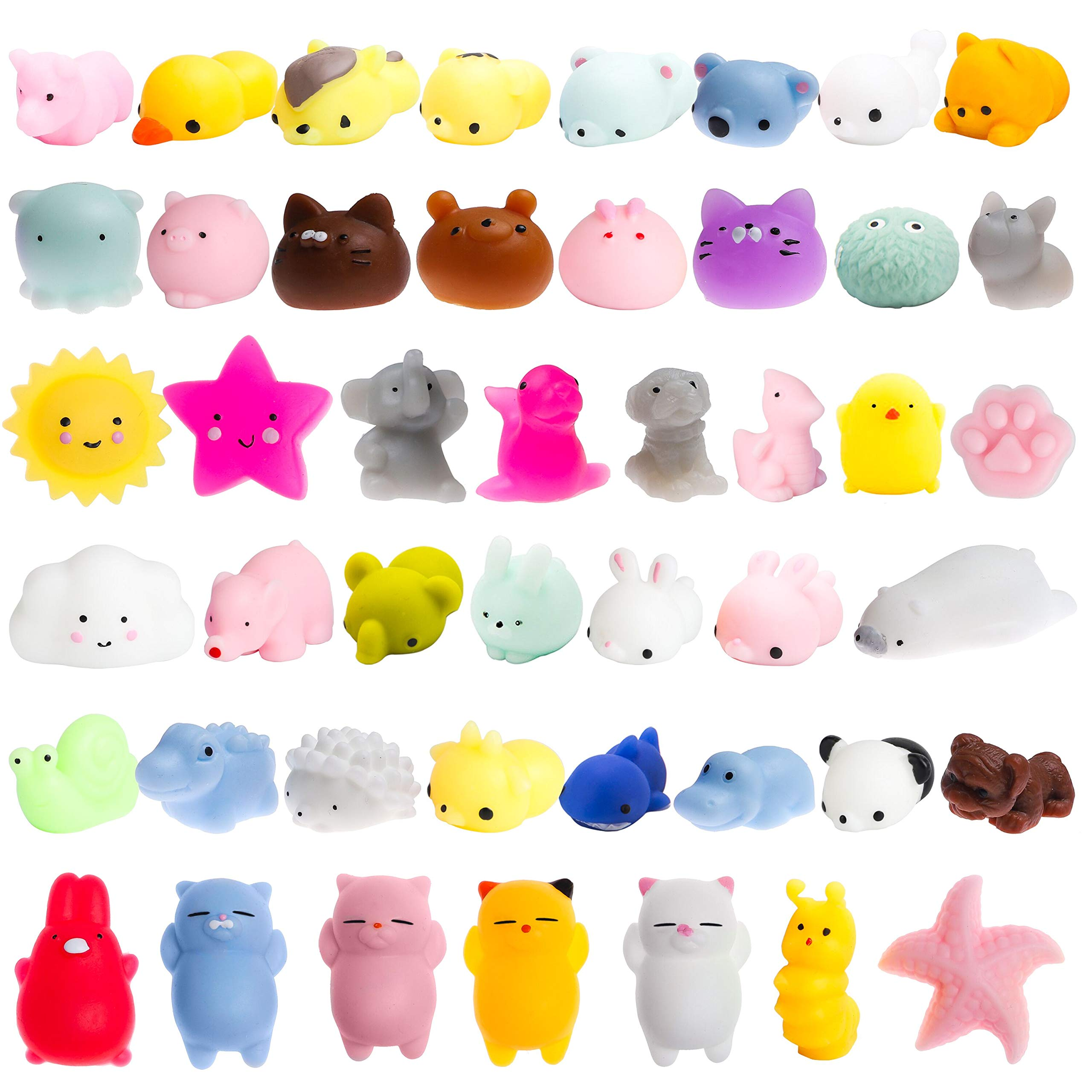 WATINC 40 Pcs Mochi Squishies Toy, Squeeze Cat Squishies for Mochi Party Favors, Birthday Gifts for Boys & Girls, Mini Cute Animal Squishies Toys, Kawaii Stress Relief Toys, Goodie Bags Egg Fillers by WATINC