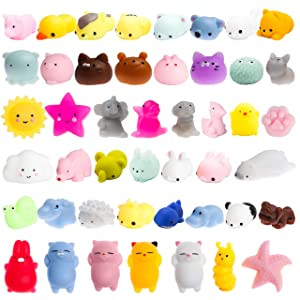 WATINC 40 Pcs Mochi Squishies Toy, Squeeze Cat Squishies for Mochi Party Favors, Birthday Gifts for Boys & Girls, Mini Cute Animal Squishies Toys, Kawaii Stress Relief Toys, Goodie Bags Egg Fillers