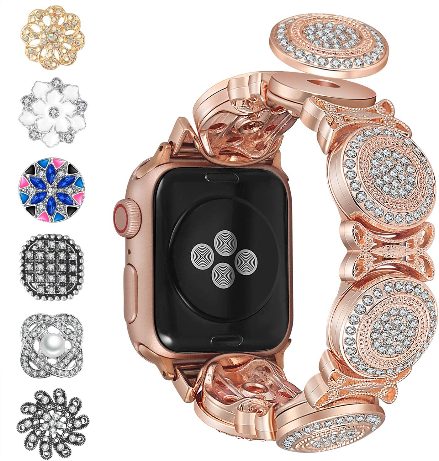 Blinkbrione DIY 2 in 1 Bracelet Apple watch Bands replacement for iwatch Serie 5 4 3 2 1 42/44mm for Women with Removable Snaps Rhinestones Bling iWatch Band Bracelet (42/44MM Gold Circle)