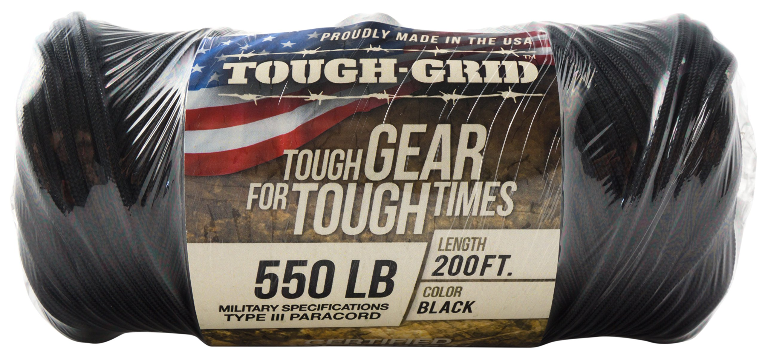 TOUGH-GRID 550lb Black Paracord/Parachute Cord - 100% Nylon Genuine Mil-Spec Type III Paracord Used by The US Military - Great for Bracelets and Lanyards - Made in The USA. 50Ft. - Black by TOUGH-GRID (Image #8)