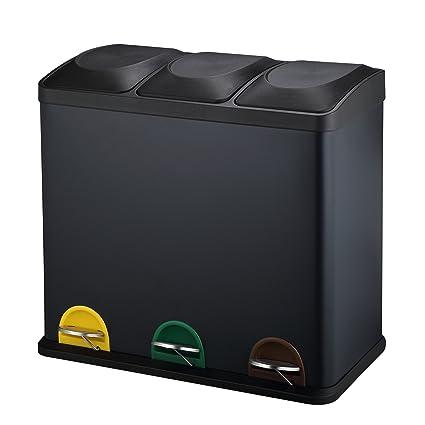 Harima Basurero Triple De Reciclaje 54L | 3 Contenedores Plásticos De 18L con Tapas Y Pedales