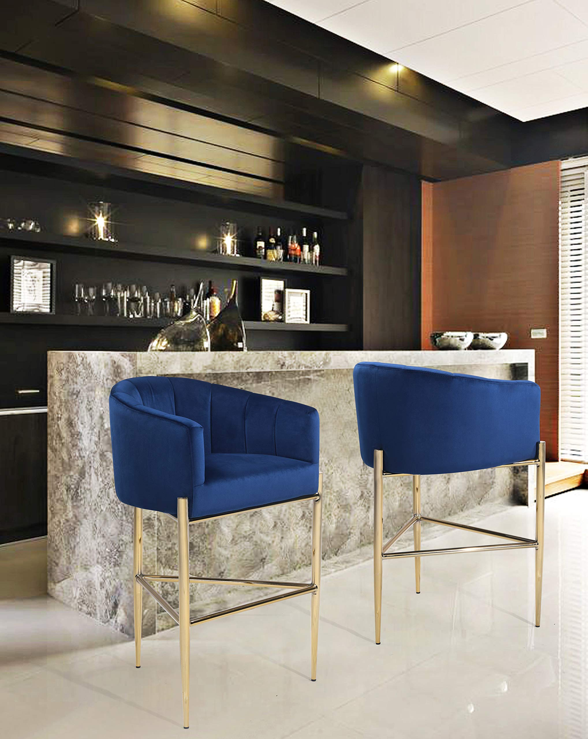 Iconic Home FBS9483-AN Cyrene Bar Stool Chair Velvet Upholstered Shelter Arm Shell Design 3 Legged Gold Tone Solid Metal Base Modern Contemporary, Navy by Iconic Home