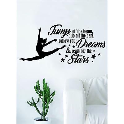 Reach for the Stars Quote Decal Sticker Bedroom Living Room Wall Vinyl Art Home Decor Teen Nursery Girls Dance Ballet Leap Gym Gymnist Gymnastics: Home & Kitchen