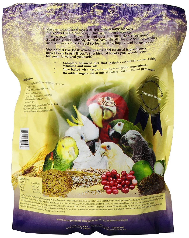 2 Pack, Caitec Oven Fresh Bites Natural Baked Avian Diet, Nutritional, Whole Grain, Large Parrot Food. 48 Oz. Ea. by Caitec Corp