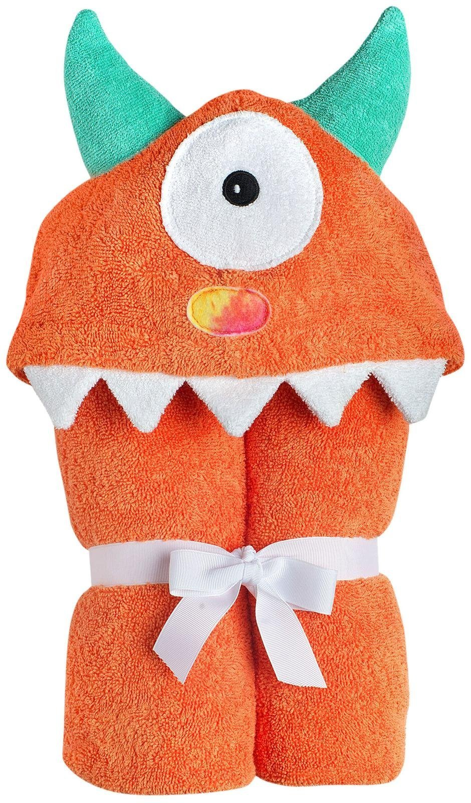 Yikes Twins Child Hooded Towel - Orange One Eyed Monster by Yikes Twins