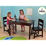 KidKraft Rectangle Table and 2 Chair Set - Espresso