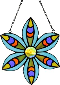 Alivagar Stained Glass Tiffany Style Flower Window Hangings Sun Catcher (Blue)