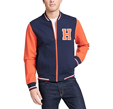 1ca2e8ab679 Tommy Hilfiger Men s Retro Varsity Bomber Colorblock Track Jacket at ...