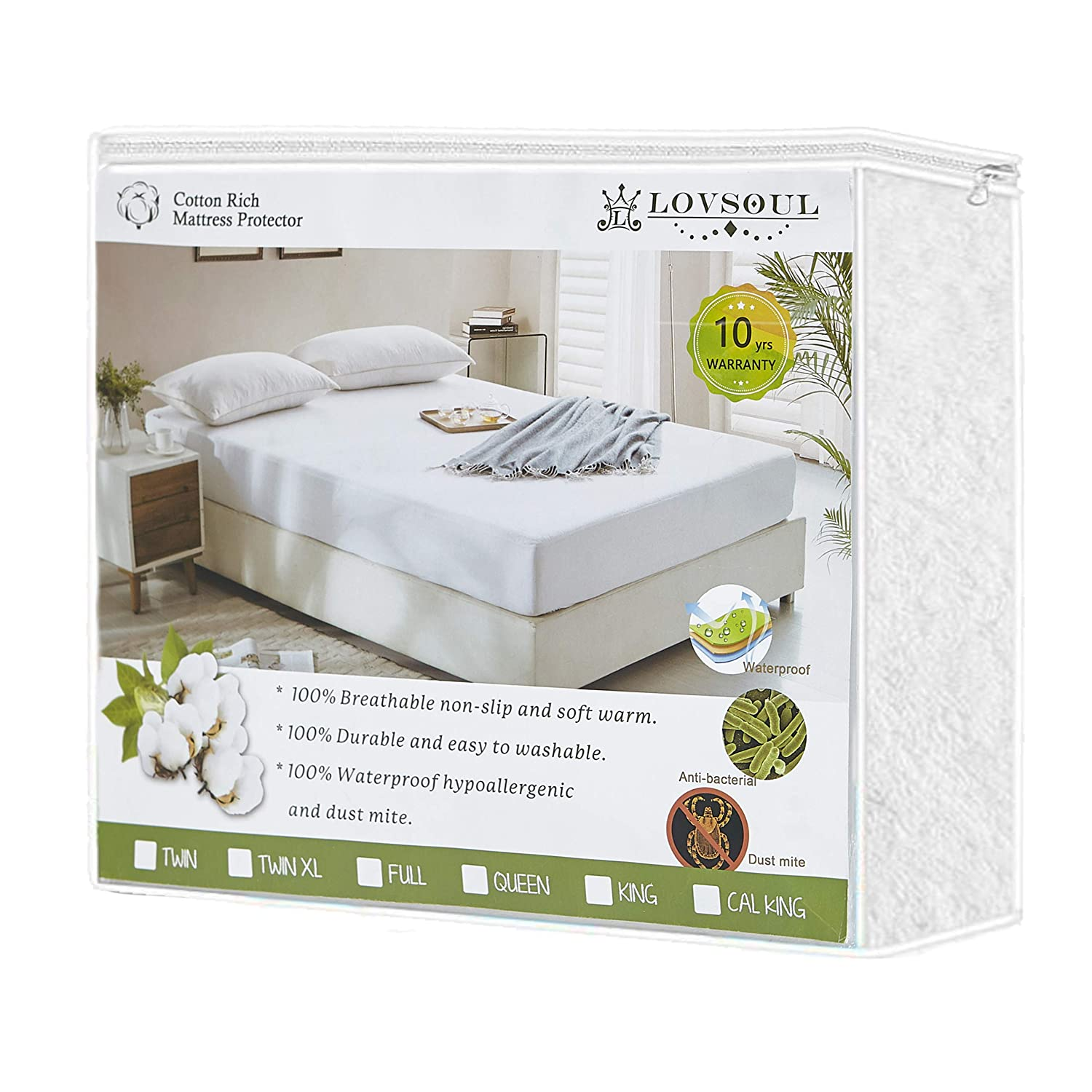 L LOVSOUL Twin Mattress Protector,Waterproof Mattress Protector 39X75Inches,Deep Pockets(Up to 14inches Deep) Hypoallergenic Mattress Encasement,Vinly Free,10 Year Warranty