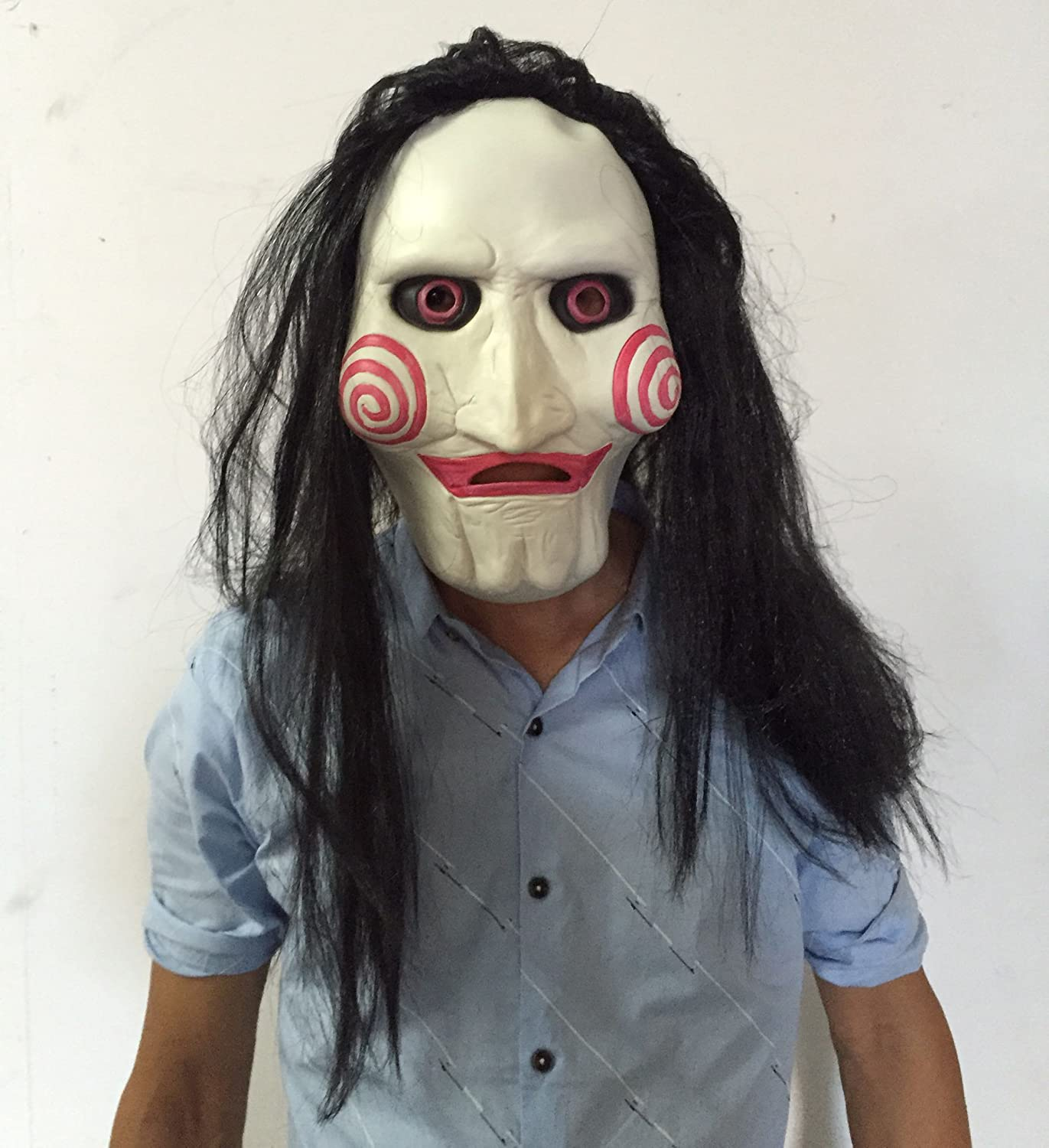 KINGEVA Party Halloween Costume Latex Horror Clown Saw Mask Super Lifelike Horrifying The Puppet Mask From Movie Jigsaw Full Mask Head Latex Masquerade Prop Christmas, Meets your SCARE criteria!
