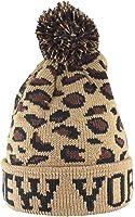 Bonnet New York hiver tricoté avec Pompons rayé ou avec motif Cheeta