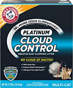 Arm & Hammer Platinum Cloud Control, Clumping Cat Litter, Multi-Cat, 37 Pound (2-Pack (37 lbs))