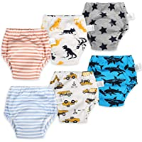 6 Packs Cotton Training Pants Reusable Toddler Potty Training Underwear for Boy and Girl Dinosaur-4T