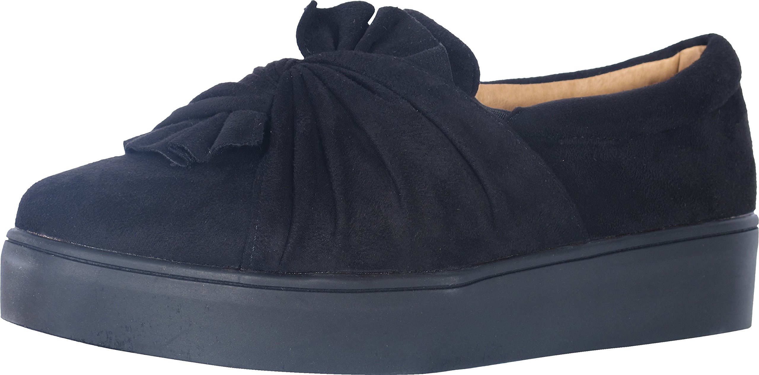 Catherine Malandrino Women's Knotted Slip-On Fashion Sneakers, Black Suede, Size 8.5 B(M) US'