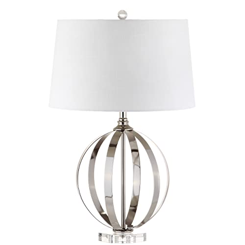 Jonathan Y 26 Metal Orb LED Table Lamp, Polished Nickel, Modern, Bulb Included