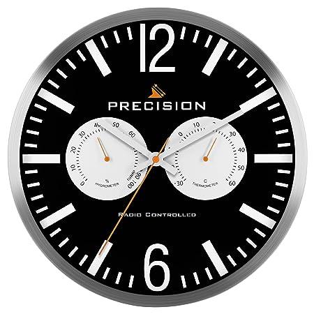 Precision Wall Clock With Temperature Control Black White Silver