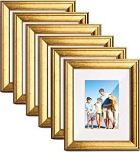 TWING 6 Packs 8x10 Picture Frame Gold Wood Displays 5x7 Photo Frame with Mat or 8x10 Inch Without Matted Shatter-Resistant Glass Table Top Display and Wall Mounting Photo Frame