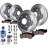 Detroit Axle - Drilled Slotted FRONT REAR Brake Rotors & Ceramic Brake Pads w/Hardware, Brake Fluid & Cleaner fits Chevy Tahoe Silverado/Suburban/GMC Sierra 1500 Yukon Cadillac Escalade