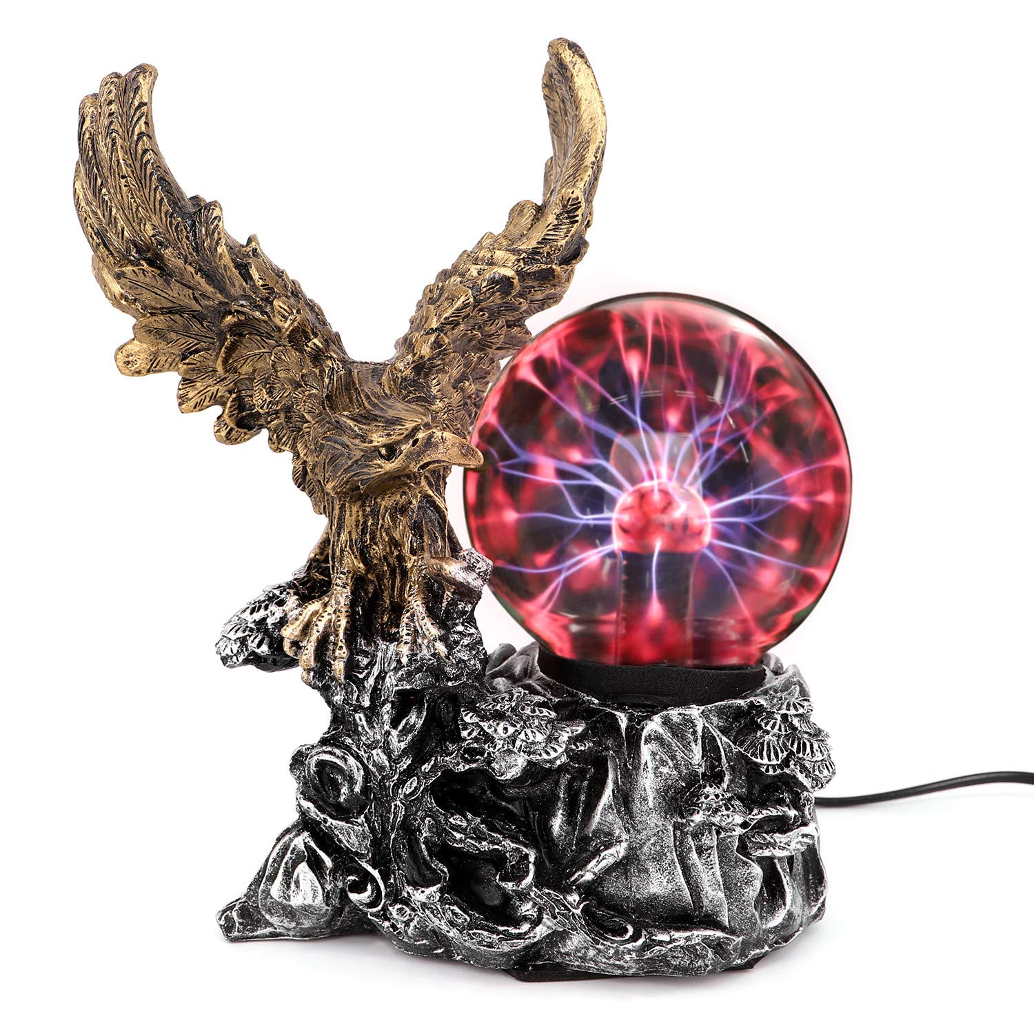 QTKJ Resin Plasma Ball Light, Electrostatic Magic Ball Lamp with Eagle for Home and Party, Halloween Decorations Gifts for Kids