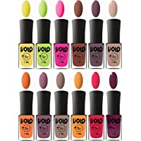 Volo Nail Polish Extra-Shine 7 Day Stay Combo Shade-Yellow,Parrot Green,Passion Pink,Chocolate Brown,Light Purple,Light Nude,Peach,Purple,Nude,Yellow Mango,Passion Red,Wine