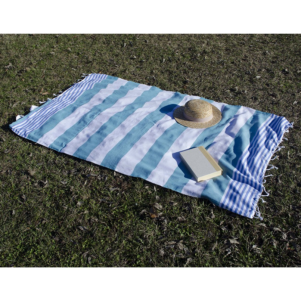 Birchwood Turkish Beach Towel/Bag, Green/Blue by Birchwood (Image #2)