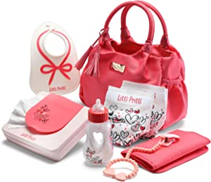 Litti Pritti Baby Doll Diaper Bag Set, 9 Piece Premier Playtime Set for Baby Dolls, Bag Includes Fabric Diapers, Magic Bottle, Wipes & More Baby Doll Accessories