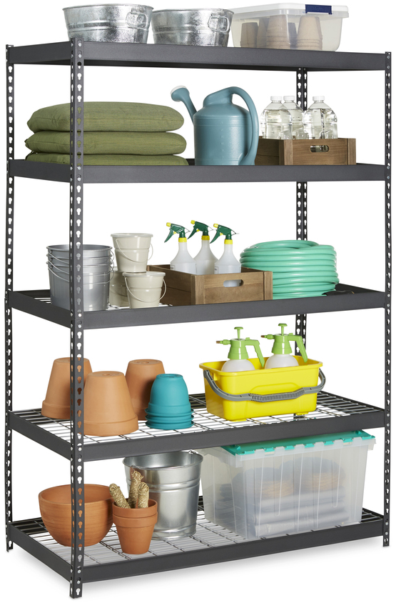 Shop edsal 72-in H x 48-in W x 24-in D 5-Tier Steel Freestanding Shelving Unit at Lowes.com
