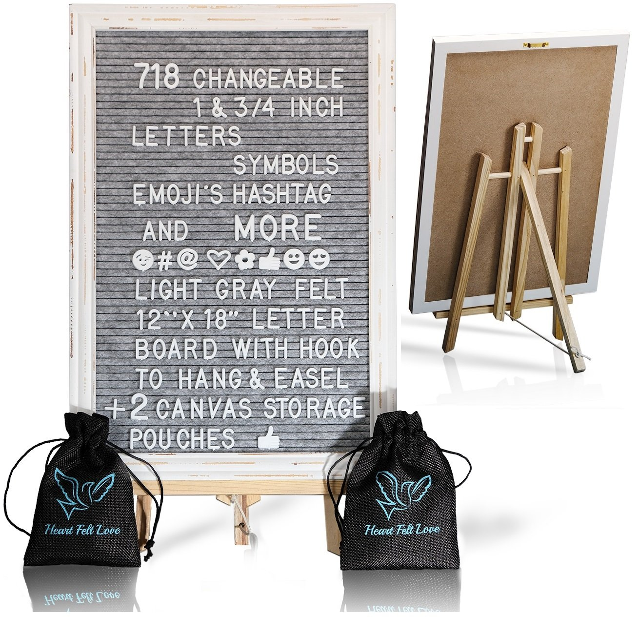 Gray Felt Letter Board With Easel Stand 12 x 18 | 718 Changeable Characters Including 1 inch and ¾ Letters, Symbols, Emojis Hashtag + More | Hook To Hang | 2 Bags (Gray W/ Antique Frame)