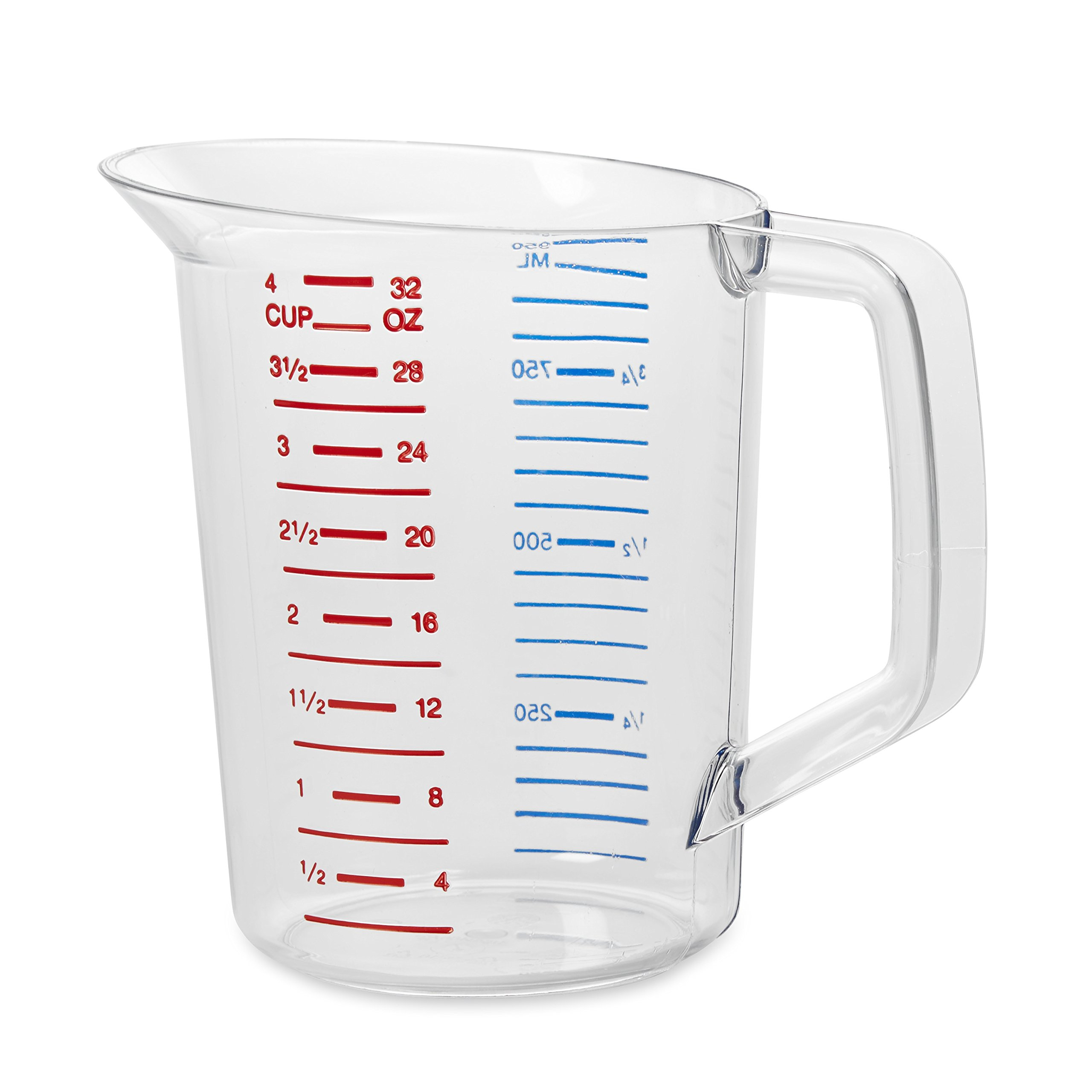 Rubbermaid Commercial Bouncer Measuring Cup, 1-Quart, Clear, FG321600CLR