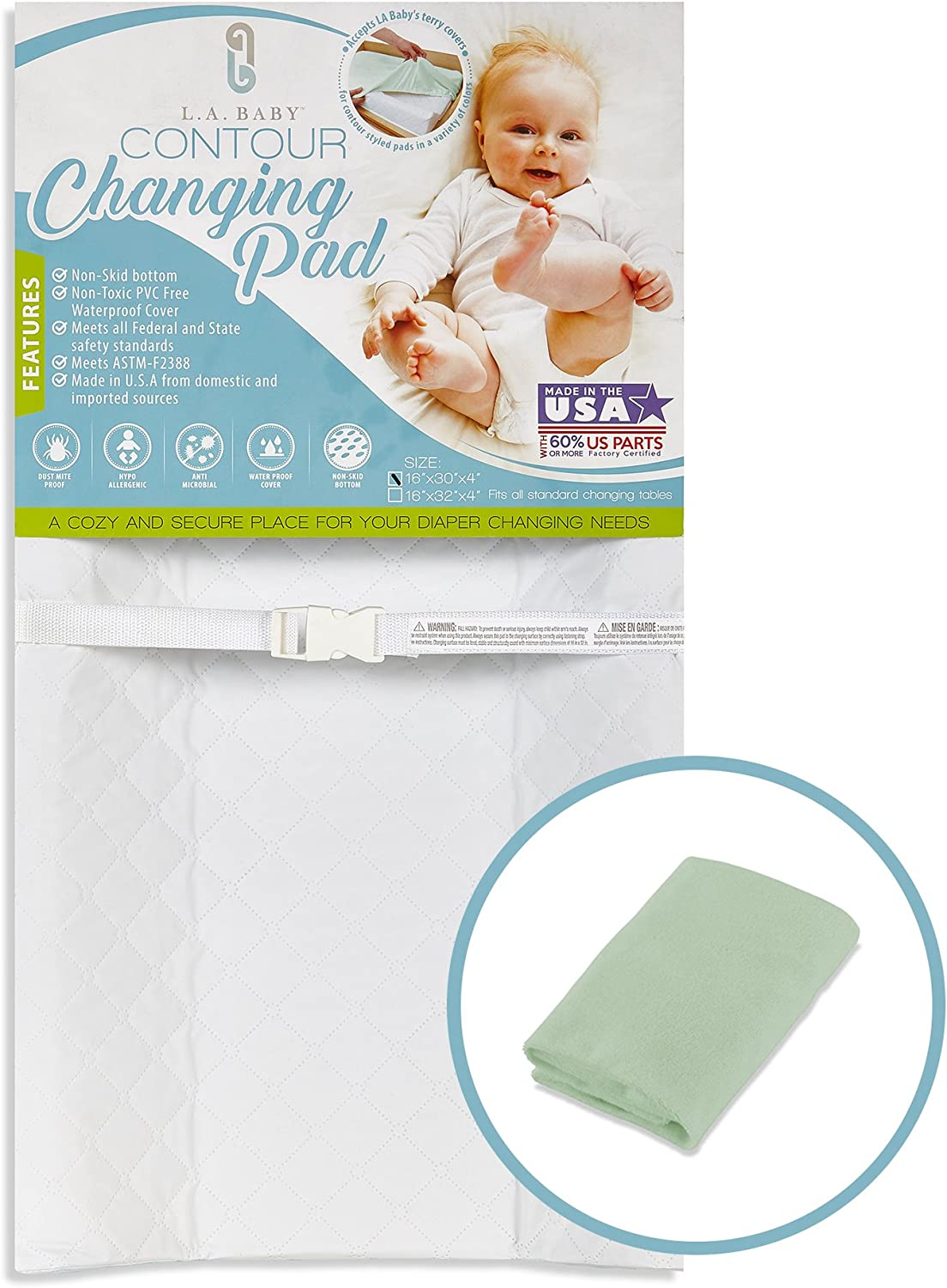 LA Baby Combo Pack with Contour Changing Pad and Terry Cover, White/Mint, 32-Mint by LA Baby