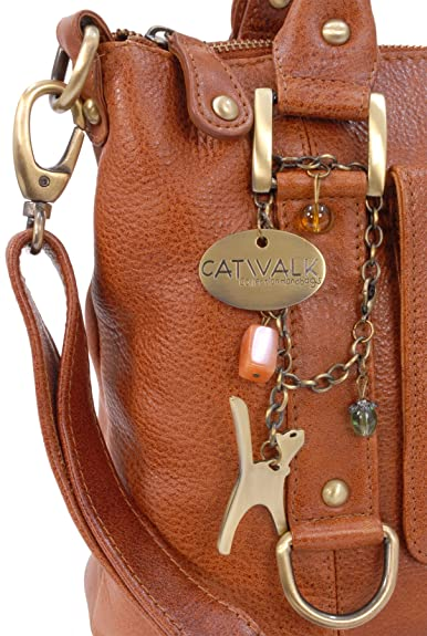 CATWALK COLLECTION - GALLERY - Bolso de mano con adornos metálicos - Cuero - Tostado: Amazon.es: Zapatos y complementos