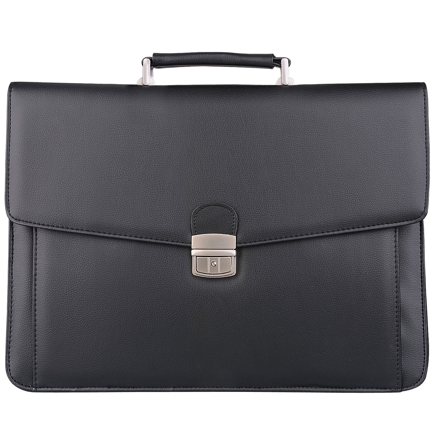 Jack&Chris New PU Leather Briefcase Messenger Bag Laptop Bag, MBYX012, Clasp Upgrade