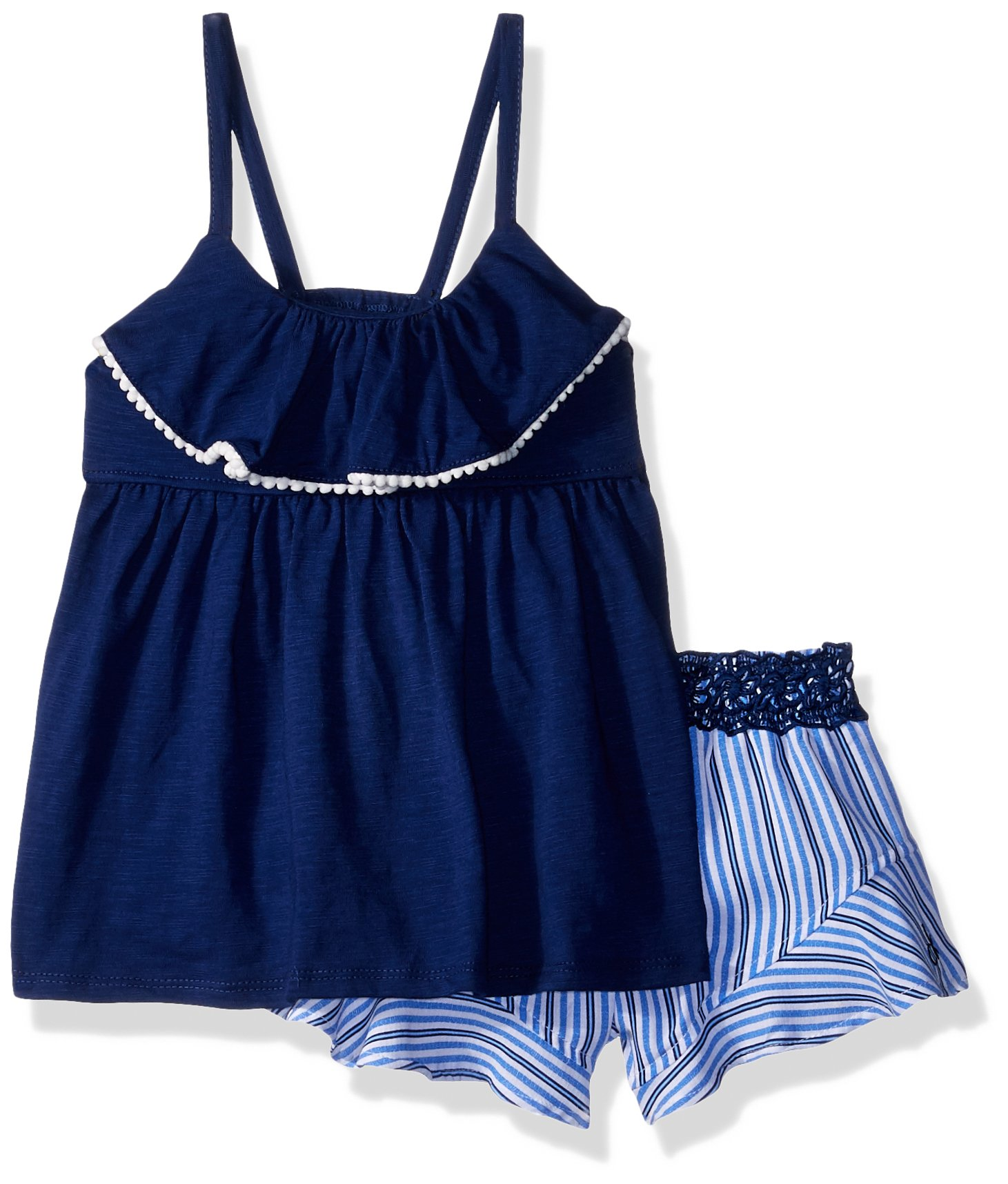 Calvin Klein Big Girls' Flounce Shorts Set, Navy/Stripes, 8/10