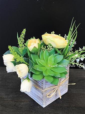 Amazon sweet home deco silk spring flowers fake succulents sweet home deco silk spring flowers fake succulents greenery arrangement w wooden vase home wedding mightylinksfo